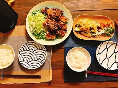 イイホシユミコのお皿を使った竜田揚げ、茄子のみぞれがけ、白米の夜ご飯