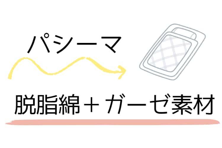 パシーマは脱脂綿+ガーゼ素材で作られているという説明の画像