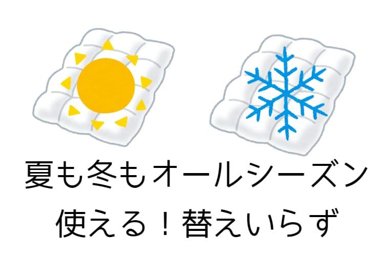 夏も冬も使えるという説明の画像