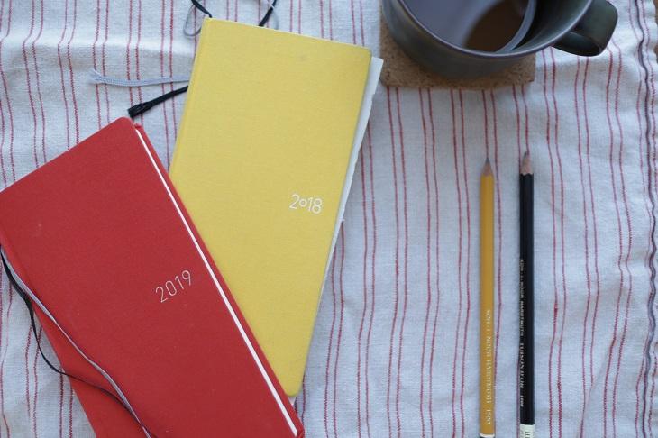 2018年と2019年のほぼ日手帳とコーヒーカップと鉛筆を並べている写真