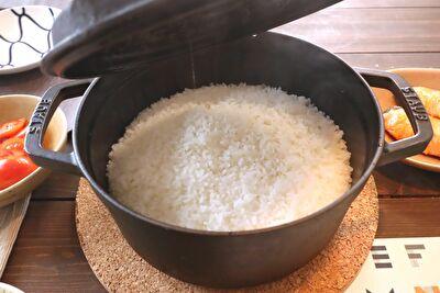 ストウブ22㎝白米が炊き上がった直後の写真