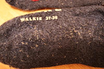 ファルケの靴下の毛玉がついた足裏部分の写真