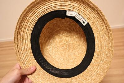 クラスカの麦わら帽子の内側の写真