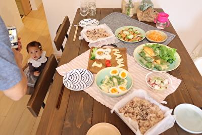 パーティのときにテーブルクロスとして使っているフォグリネンワークのキッチンクロス