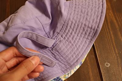 パタゴニアの子供用帽子の顎紐の通し部分