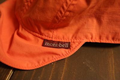 モンベルの子供用の帽子のブランドタグ