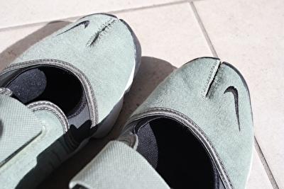 ナイキのエアリフトのつま先部分の足袋型になっている部分の写真