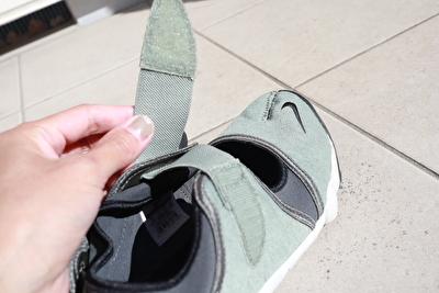 ナイキエアリフトのカーキの靴の甲のベルト部分の写真
