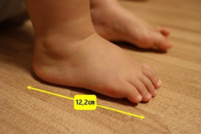 娘の足のアップの写真に実寸サイズが書いてある画像