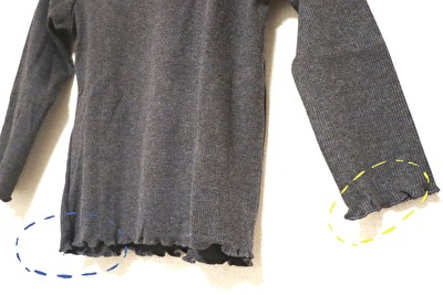 ZARABABYの3-4歳用のグレーの長袖カットソーの袖と裾のアップの写真