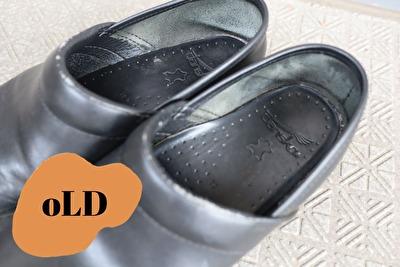 ダンスコの黒のプロフェッショナルの古い靴の足の入り口部分のアップの写真