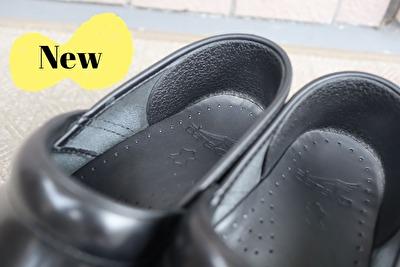 ダンスコのプロフェッショナルの黒の新しい靴の内側のかかと部分の写真