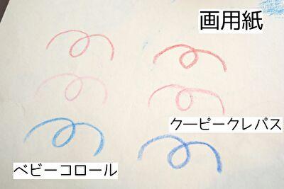 画用紙にベビーコロールとクーピーペンシルで書き比べてみた写真
